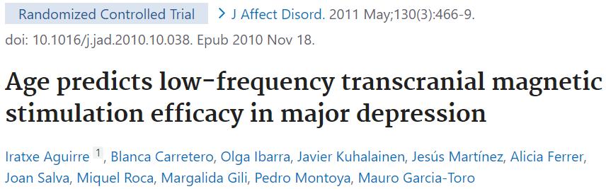 うつ病のTMS治療と年齢の関係(RCT)のご紹介