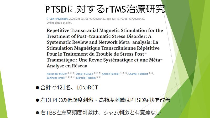 PSDのTMS治療エビデンス(システマティックレビュー)