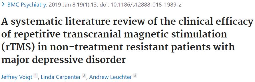 非治療抵抗性うつ病のTMS治療の費用対効果を調べた論文