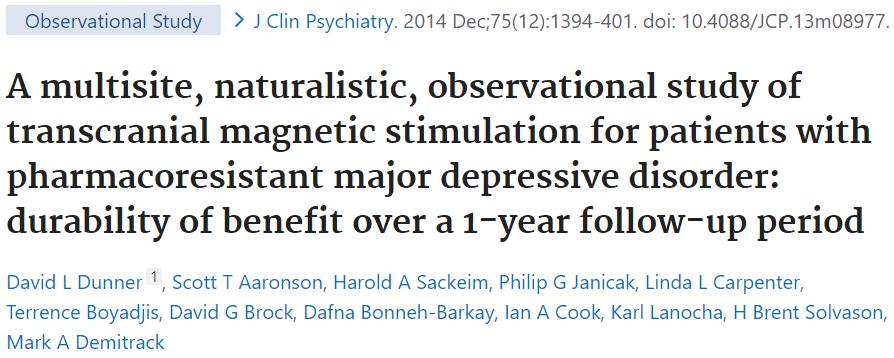 うつ病でのTMS治療の1年間の観察研究により、臨床場面での治療効果とその持続を推測できます。