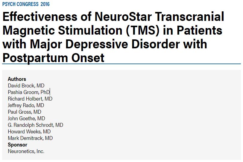 産後うつのニューロスターでのTMS治療についての論文です。