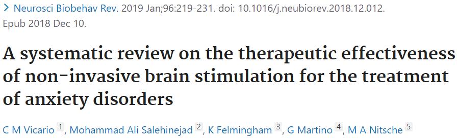 不安障害のTMS治療についてのシステマティックレビューになります。
