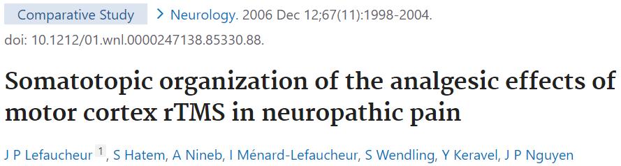 疼痛性障害のTMS治療の効果が期待できる脳皮質についての論文です。