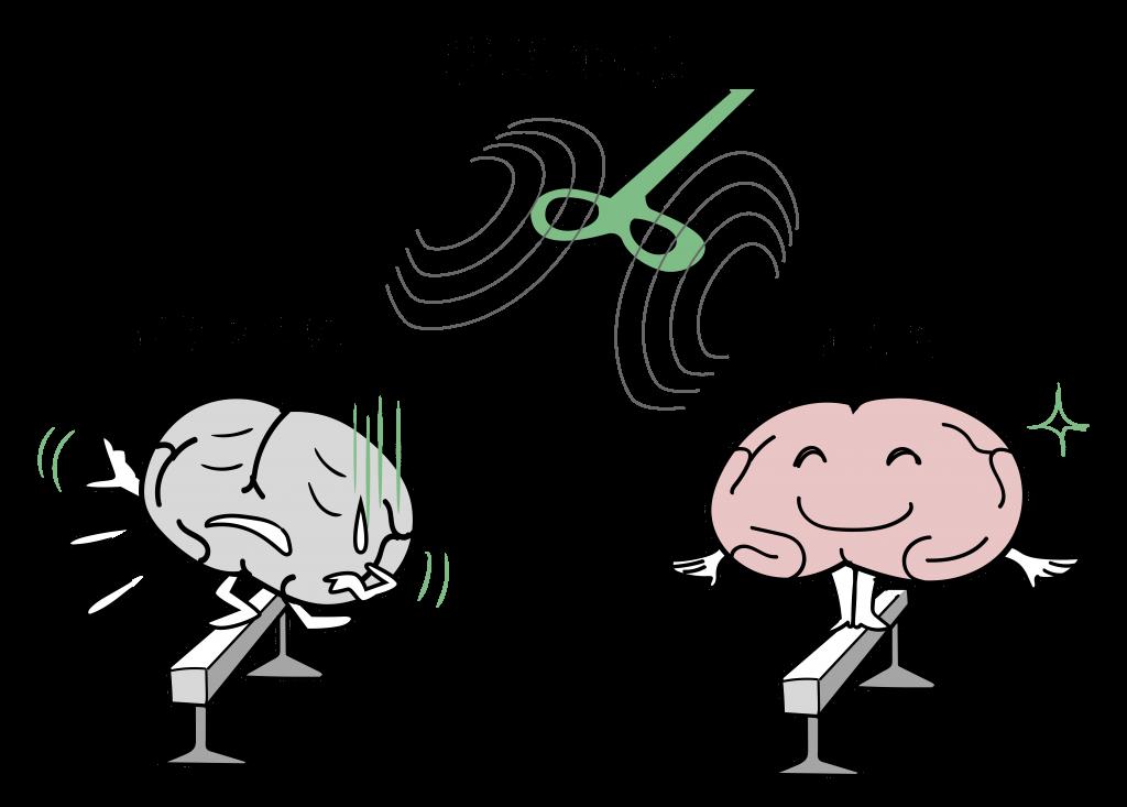 TMS治療によって脳の機能のバランスが回復するイメージイラストです。