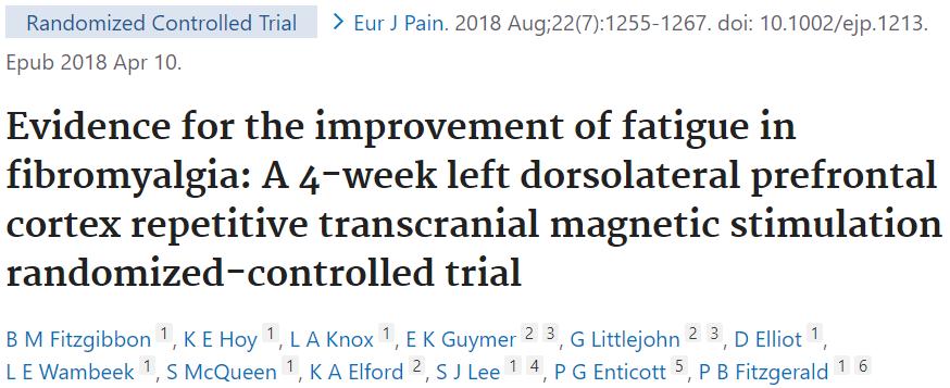 線維筋痛症での左DLPFCに対するTMS治療のエビデンスを紹介した論文です。