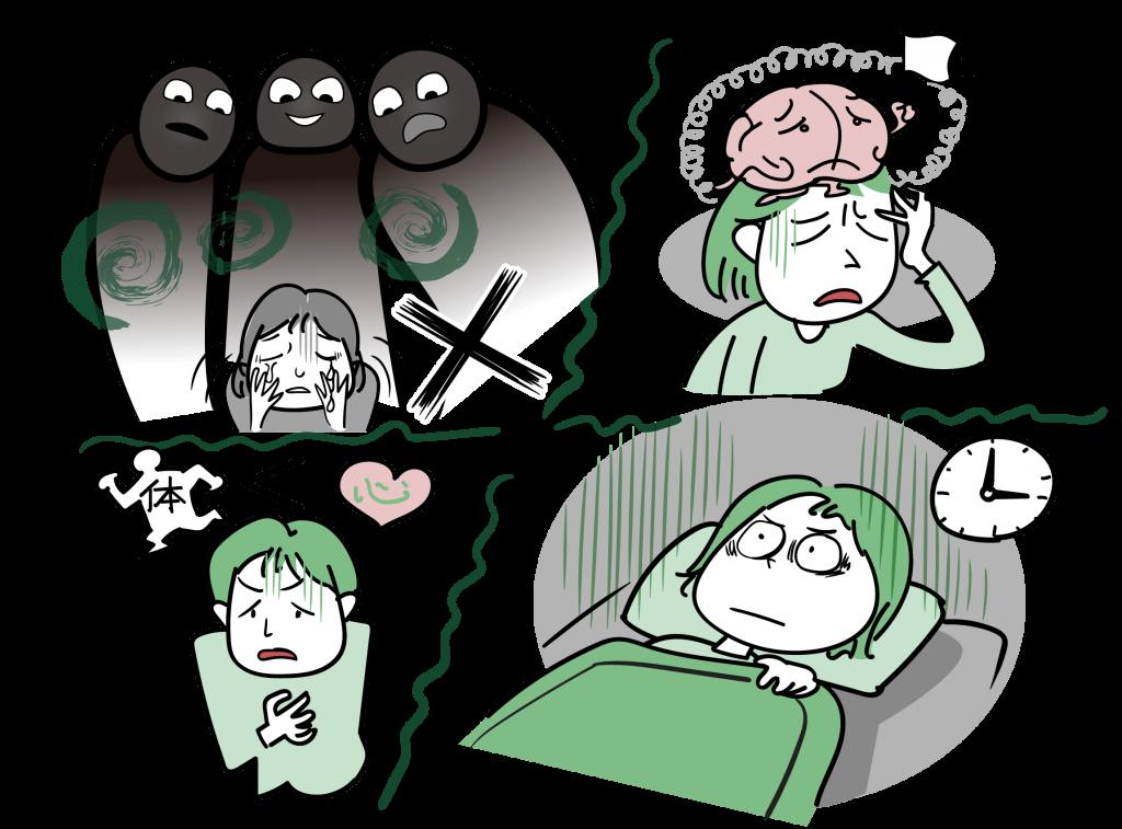 TMS治療の効果が期待できるうつ病症状の特徴をイラストにしました。