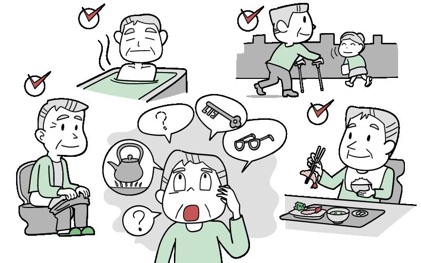 軽度認知機能障害に良く認められる症状をイラストにしました。