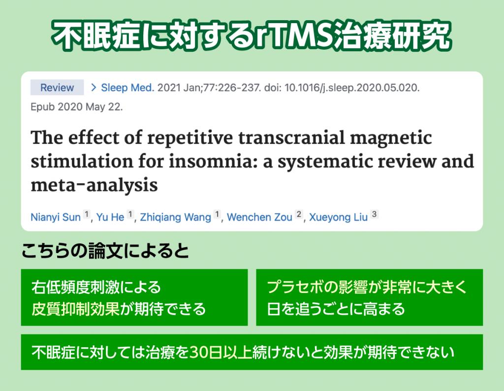不眠症とTMS治療のエビデンスが高い論文をご紹介します。