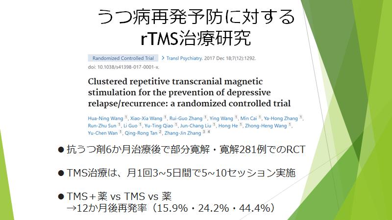 TMS治療の再発予防についてのエビデンスを示した論文になります。