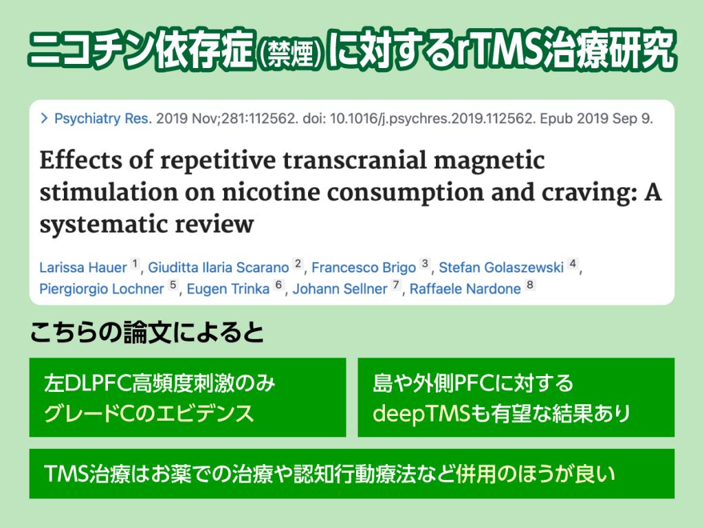 ニコチン依存症とTMS治療のエビデンスをご紹介します。
